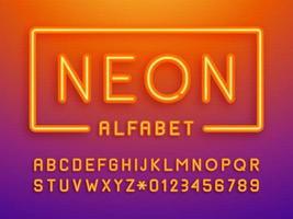 vetor de letras e números de luzes de néon laranja