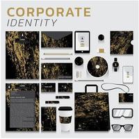 identidade corporativa de textura de ouro para negócios e marketing vetor
