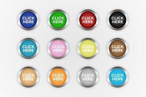 círculo clique aqui conjunto de botões vetor