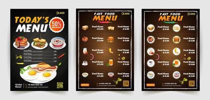 conjunto de cartaz de menu de restaurante moderno vetor