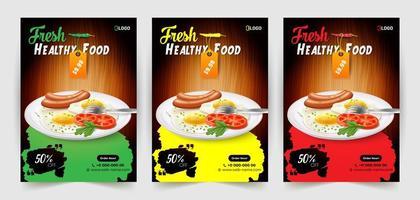 conjunto de panfleto de alimentos saudáveis e frescos vetor