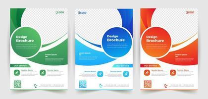 modelo de panfleto de negócios conjunto com detalhes curvos vetor