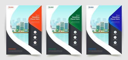 conjunto de panfleto de negócios de detalhe curvo vetor