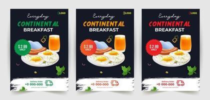 modelos de design de folheto café da manhã continental vetor