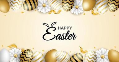 cartaz de feliz páscoa com borda de ovo estampado vetor