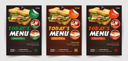 modelos de panfleto de sanduíche e outros alimentos vetor