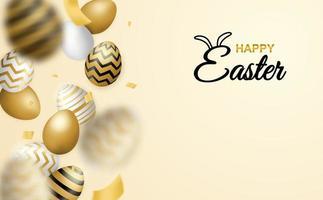 cartaz de feliz páscoa com queda de ovos estampados vetor