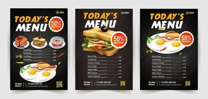 design de folheto de fast-food com 3 opções de comida