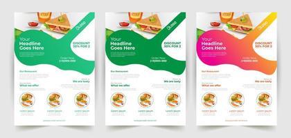 conjunto de panfleto de fast-food de design colorido e gradiente vetor