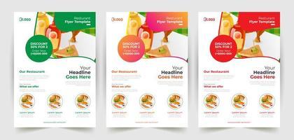 conjunto de panfleto de restaurante exclusivo e moderno vetor