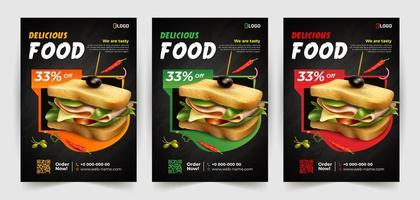 conjunto de panfleto de sanduíche delicioso vetor