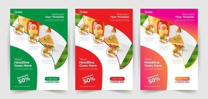 panfleto de restaurante colorido conjunto com design de curva vetor
