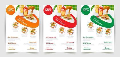 panfleto de fast food definido em 3 opções de cores vetor