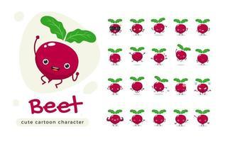 conjunto de caracteres bonito beterraba vermelha vetor