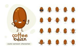 o conjunto de caracteres bonito do grão de café vetor