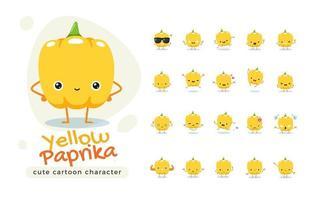 conjunto de caracteres de pimentão amarelo bonito vetor