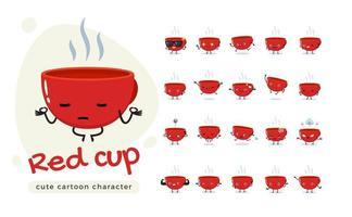 conjunto de mascote de caráter de copo vermelho vetor