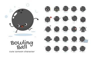 conjunto de caracteres de mascote de bola de boliche vetor