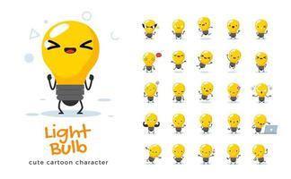 conjunto de caracteres de mascote de lâmpada vetor