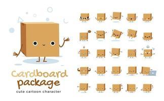 conjunto de caracteres de mascote de caixa de papelão. ilustração vetorial vetor