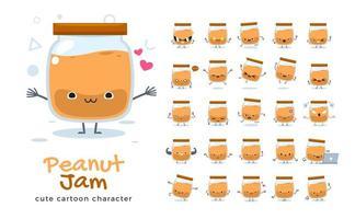 conjunto de caracteres de mascote de geléia de amendoim vetor