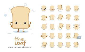 conjunto de caracteres de mascote de pão de pão vetor