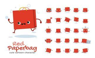 conjunto de caracteres de mascote de saco de papel vetor