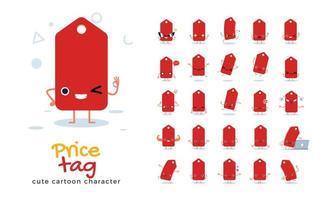 conjunto de caracteres de mascote de etiqueta de preço vetor