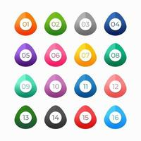 elementos de design de numeração coloridos vetor