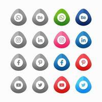 coleção de ícones de mídias sociais vetor
