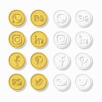 conjunto de moedas de mídia social ouro e prata vetor