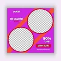 design de modelo de postagem de mídia social rosa brilhante