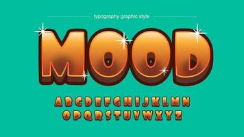 tipografia de ouro dos desenhos animados em negrito ouro laranja vetor