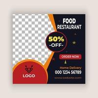 mídia social de restaurante postar modelo de banner web quadrado