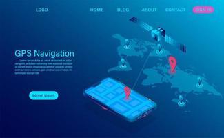 conceito de navegação GPS com satélite e telefone vetor