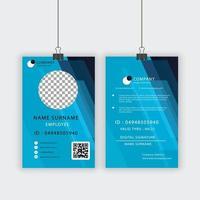 modelo de cartão de identificação de funcionário de design angular azul vetor