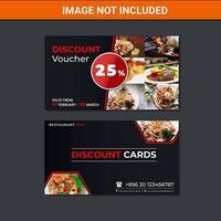 cartão de comprovante de desconto de restaurante