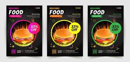 modelo de design de folheto de comida deliciosa com moldura de círculo vetor
