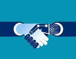 empresário e robô, apertando as mãos