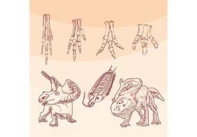 Pés de vetor de osso de dinossauro