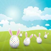 ovos de páscoa bonitos com orelhas de coelho vetor