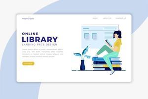 página de destino da biblioteca online vetor
