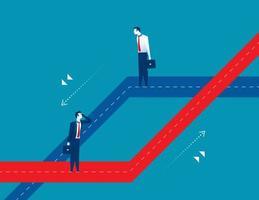 dois empresários escolhendo caminhos diferentes vetor