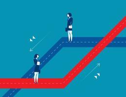 duas empresárias escolhendo caminhos diferentes vetor