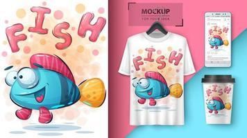 t-shirt louco dos peixes vetor