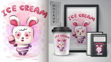 monstro de coelho e sorvete vetor