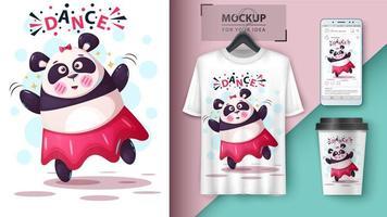 mock-ups de panda dançando vetor
