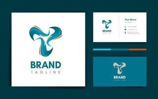 modelo de logotipo e cartão de letra t vetor