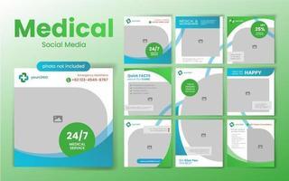 mídia social médica postar modelo em verde e azul