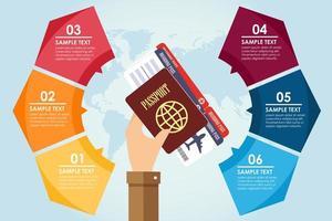 infográfico de passaporte de exploração de mão vetor